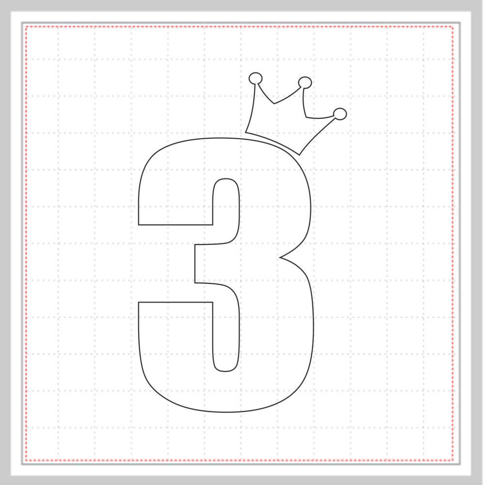 Arquivo de Corte - Mesversário 3 com Coroa