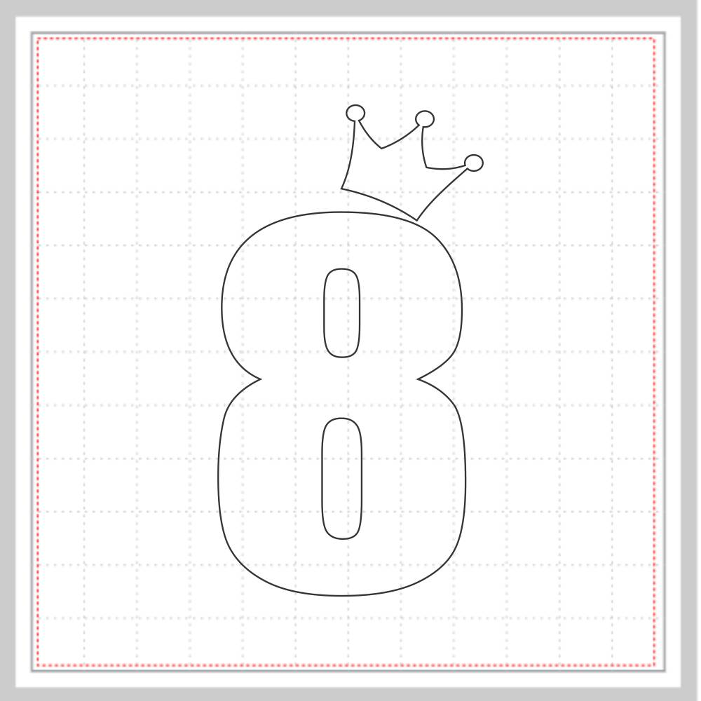 Arquivo de Corte - Mesversário 8 com Coroa