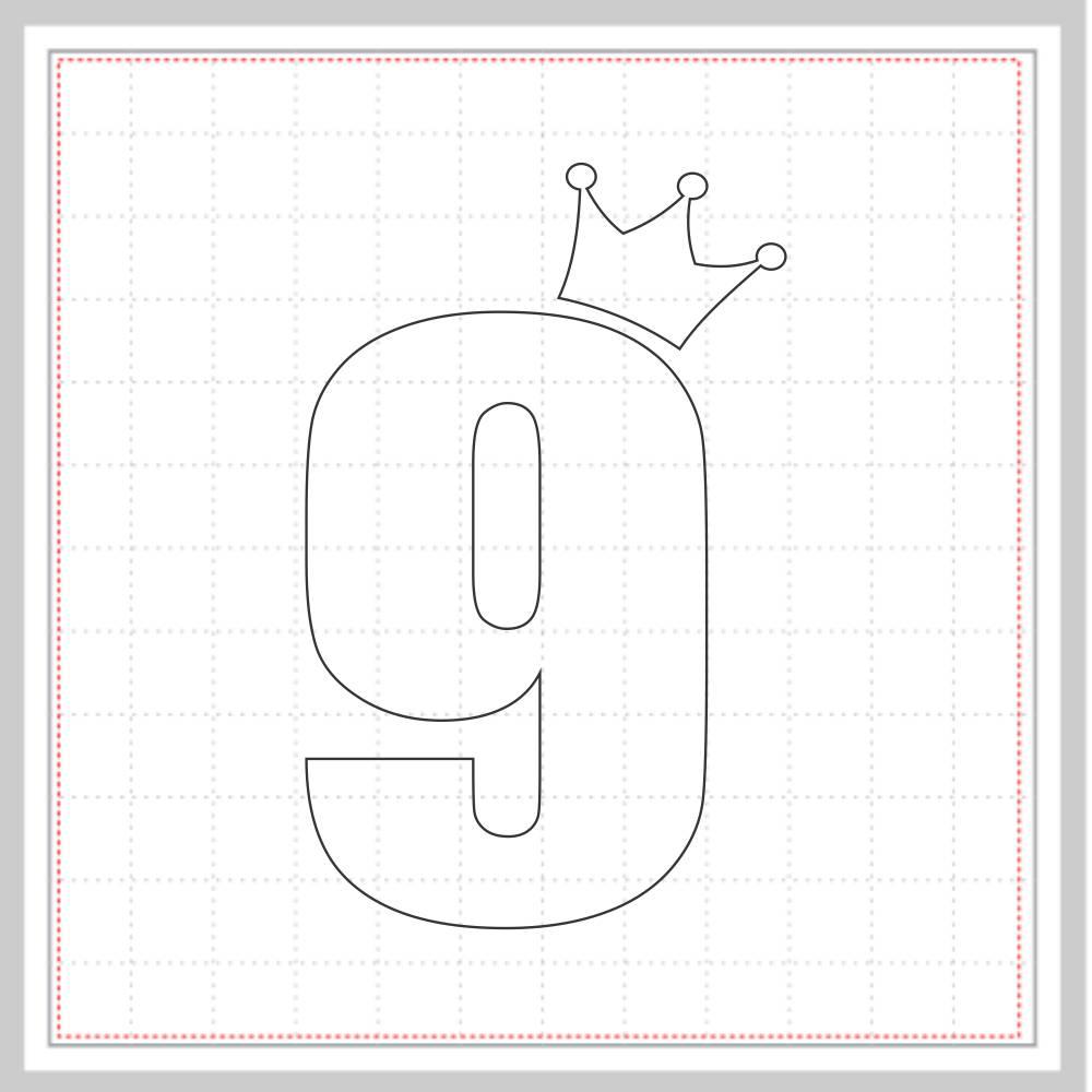 Arquivo de Corte - Mesversário 9 com Coroa