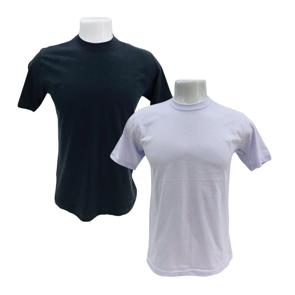 Camiseta Básica Fio 30 P ao GG - Cores: Branca e Preta