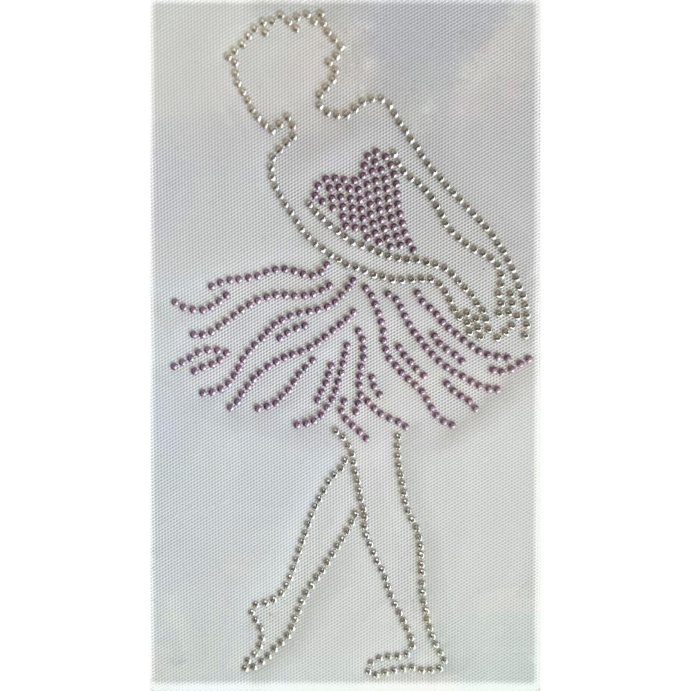 Desenho em Strass Termodinâmico Fast Patch - Pronto para Uso -Bailarina-15x27,5cm