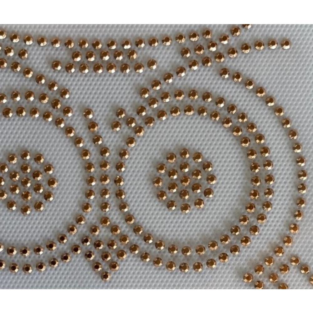 Desenho em Strass Termodinâmico Fast Patch - Pronto para Uso -Coruja dourada-14x16,5cm