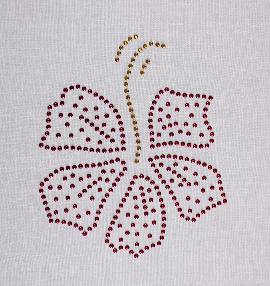 Desenho em Strass Termodinâmico Fast Patch - Pronto para Uso -flor hibisco-12x13,5cm