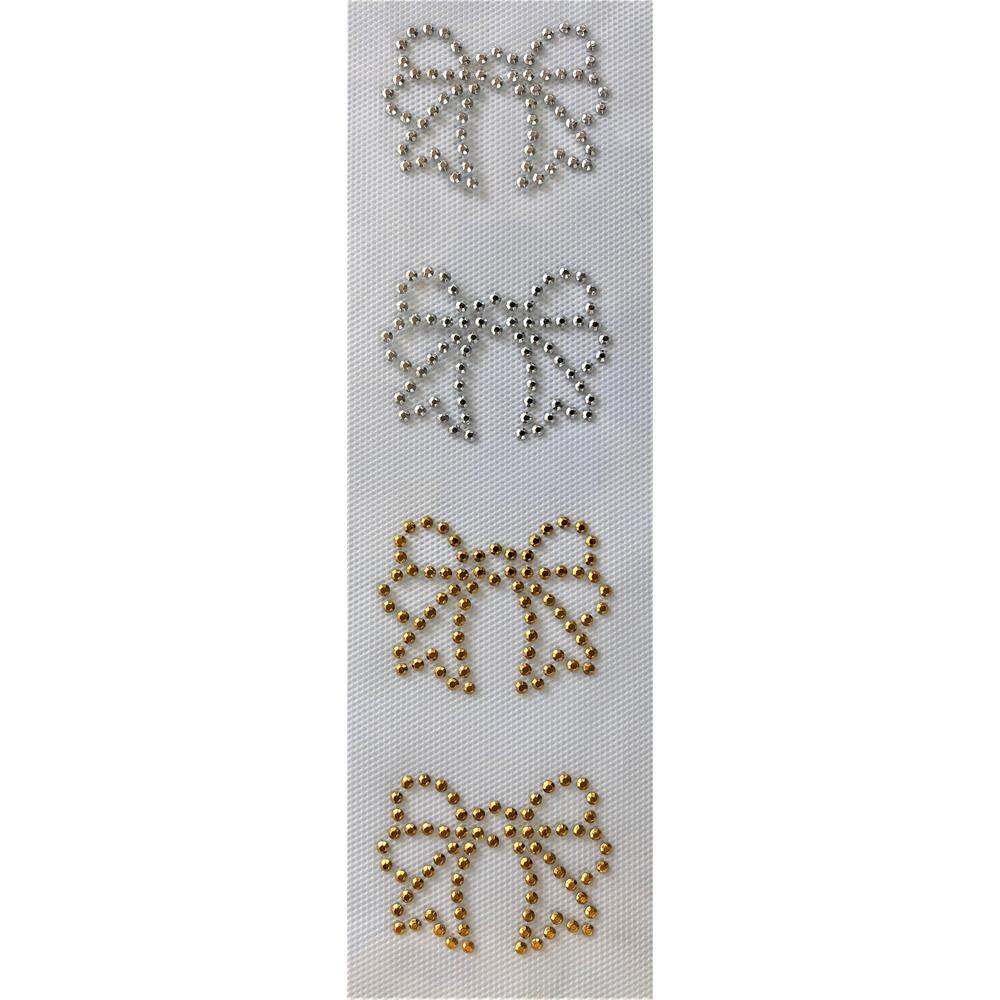 Desenho em Strass Termodinâmico Fast Patch - Pronto para Uso -Laço prata e ouro-5,5x4,5cm