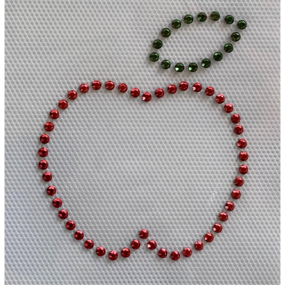 Desenho em Strass Termodinâmico Fast Patch - Pronto para Uso -maça  vermelha-7,5x6,5cm