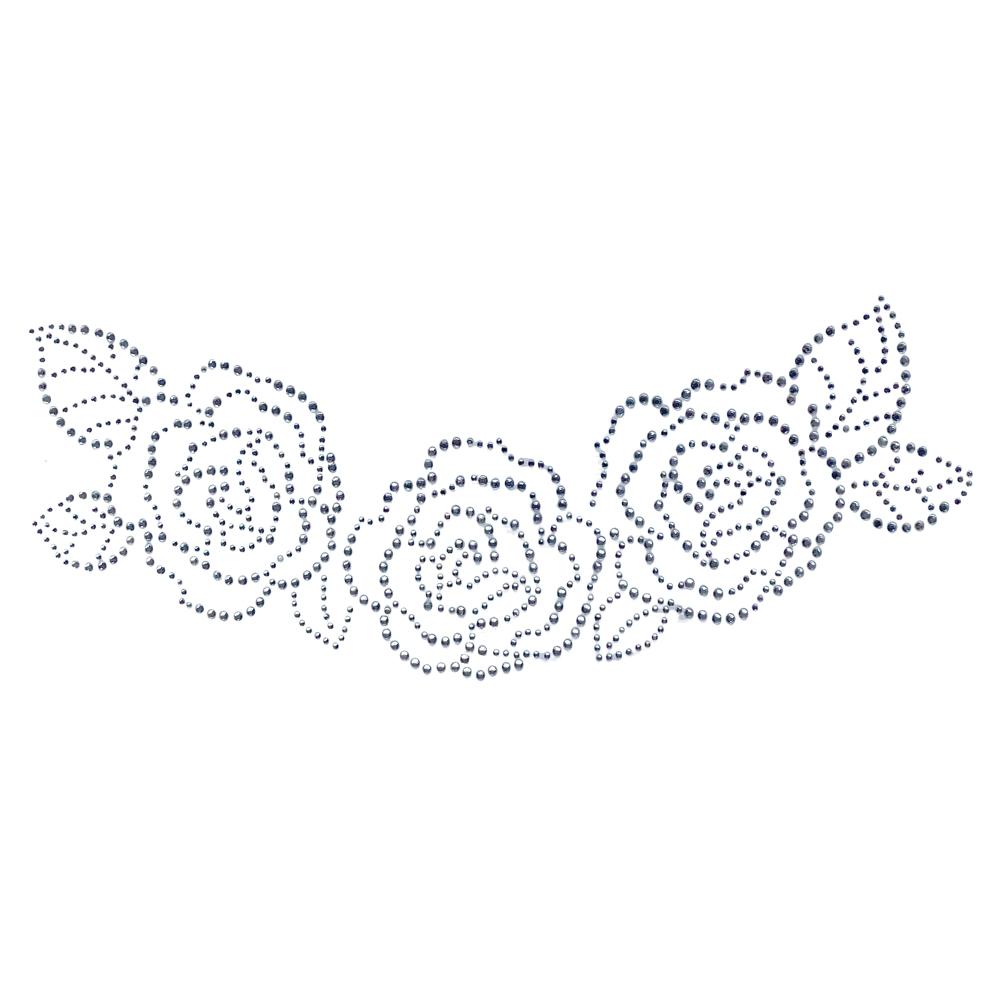Desenho em Strass Termodinâmico Fast Patch - Pronto para Uso -rosas-26,5x11cm