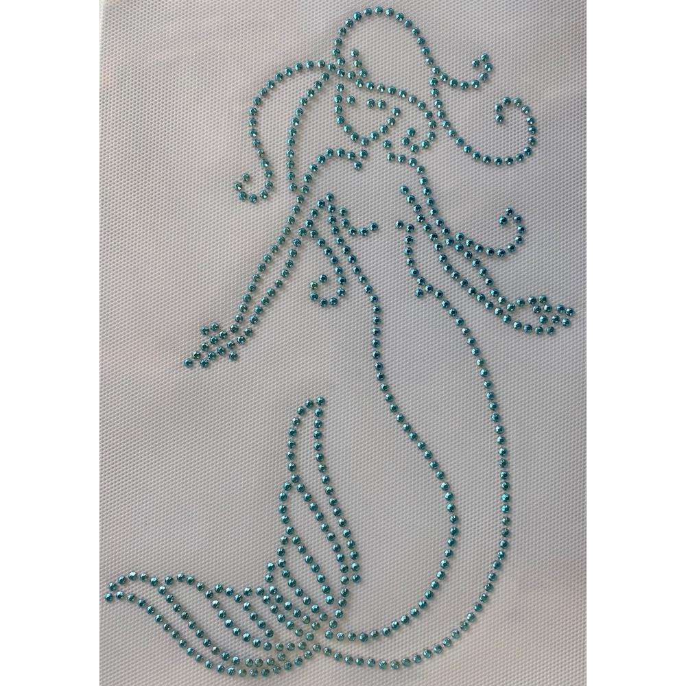 Desenho em Strass Termodinâmico Fast Patch - Pronto para Uso -Sereia-23,5x15,5cm