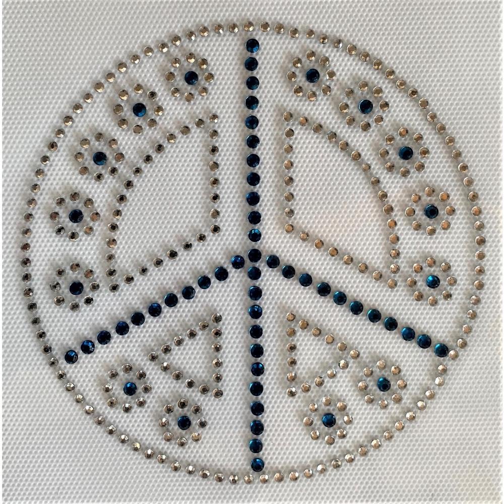Desenho em Strass Termodinâmico Fast Patch - Pronto para Uso -Símbolo Paz-12x12cm