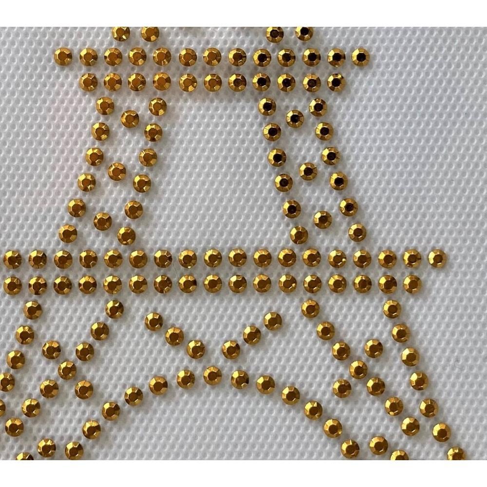 Desenho em Strass Termodinâmico Fast Patch - Pronto para Uso -torre eifel dourada-10x15,5cm