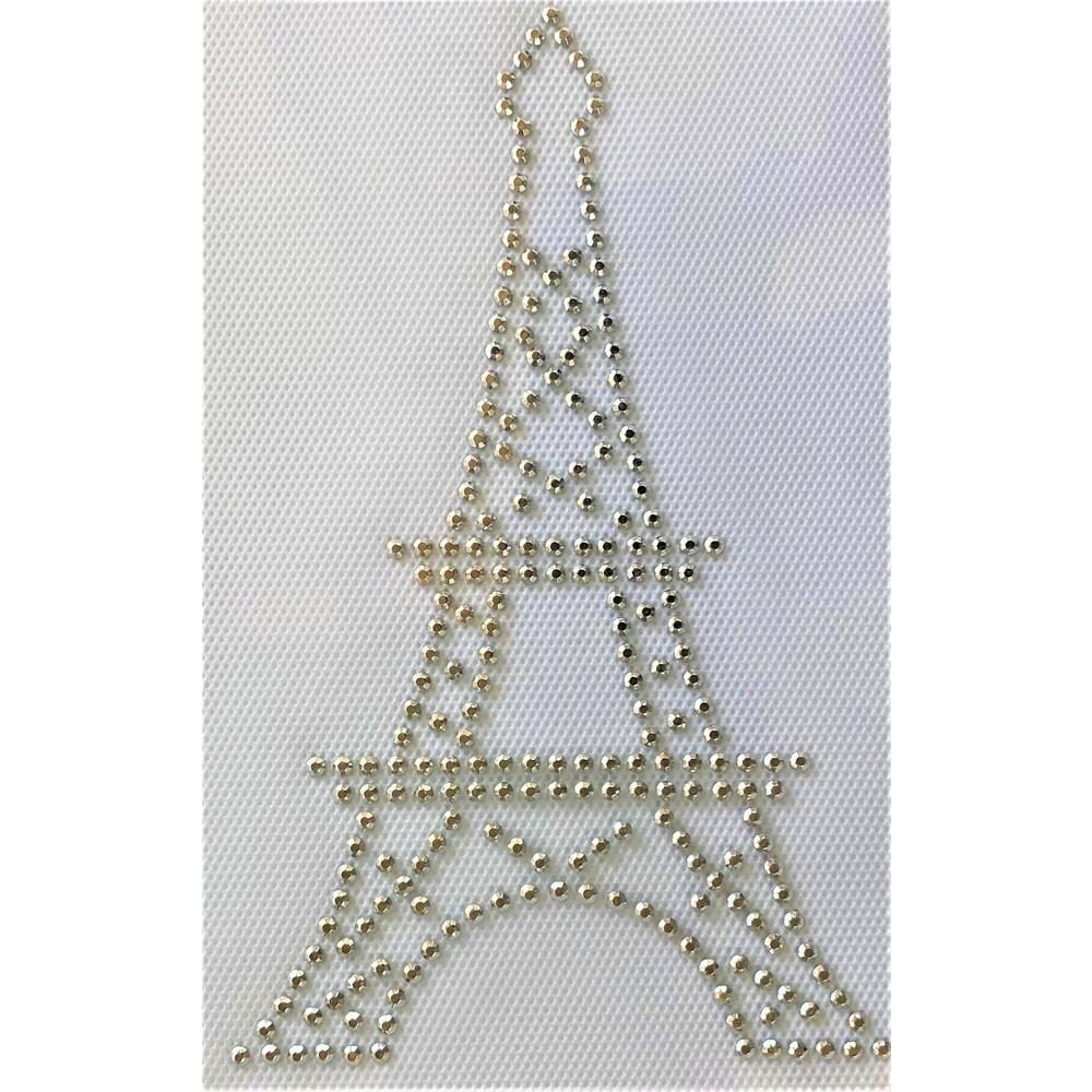 Desenho em Strass Termodinâmico Fast Patch - Pronto para Uso -torre eifel prata-10x15,5cm