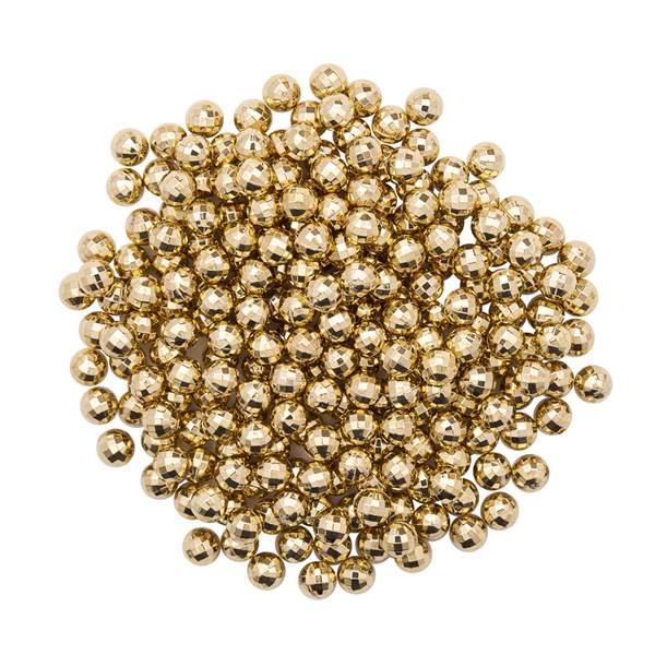 Pérola Fácil Facetada  6mm cor Ouro  - 500 uni pérolas + 500 uni grampos