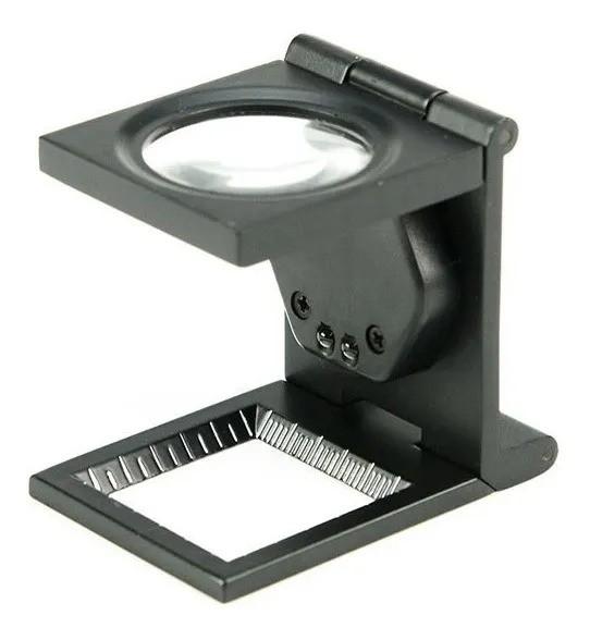 Lupa Conta-fios 10x Metal/Escala/ Bolsa Em Couro/Led