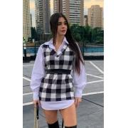 Vestido Chemise Manga Longa  Xadrez Sobreposta Camisão