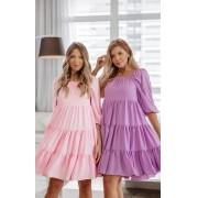 Vestido Comfy Amplo Camadas Color