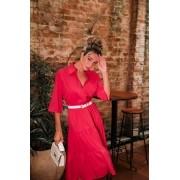 Vestido Crepe Midi Manga Vermelho