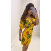 Vestido Floral Amarelo Amarração