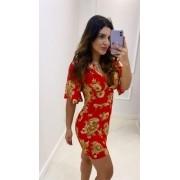 Vestido Floral  Vermelho Amarração
