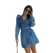 Vestido Jeans Manga Longa