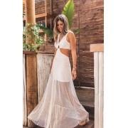 Vestido Longo Abertura Thassia Branco