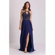 Vestido de Festa Longo Bordado à Mão Azul Marinho