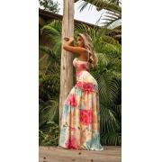 Vestido Longo Decotaddo Floral Joana Silk flow