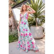 Vestido Longo Joana Crepe de Seda Floral Boho Especial Fundo Azul com Flores Rosa
