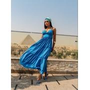 Vestido Longo Liso Azul Frente Única Silk flow
