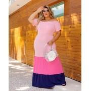 Vestido Longo Malha Color Plus Size Pink