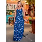 Vestido Lua Longo Viscolinho Alcinha Regulável Primavera-verão Floral Azul