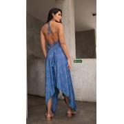 Vestido Midi Boho Indie Abertura Estampado Azul Indiano