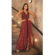 Vestido Midi Boho Indie Abertura Estampado Vermelho  Indiano
