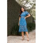Vestido Midi Sereia Renda Azul