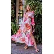 Vestido Thay Colors Longo Floral Crepe Abertura