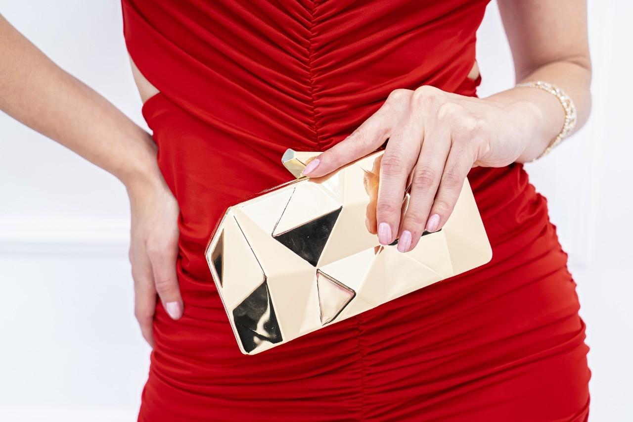 Bolsa Festa de Mão Clutch Reflexo Dourada