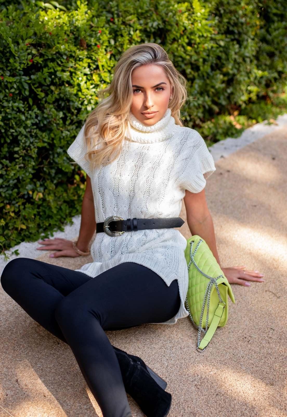 Colete Tricot Vest Legging Maguinha OFF White