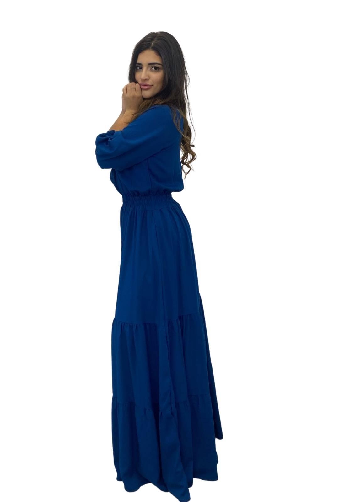 Vestido Longo Transpasse Lastex Viscose Azul