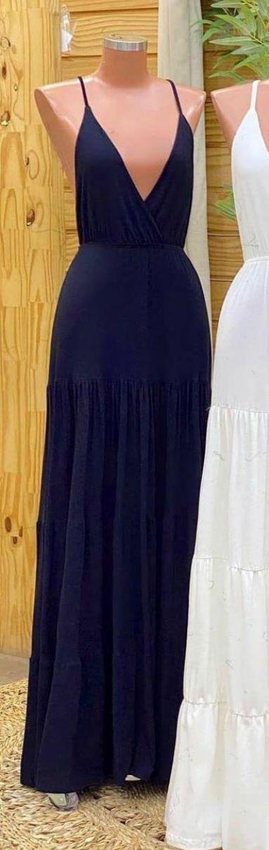 Vestido longo Viscolinho Beatriz decote V