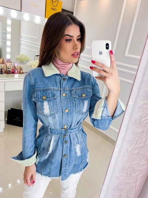 Jaqueta Jeans Oversized Pelinhos