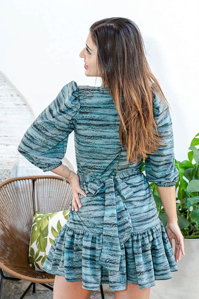 Vestido Curto Manga Longa Estampado Verde Roberta Briller