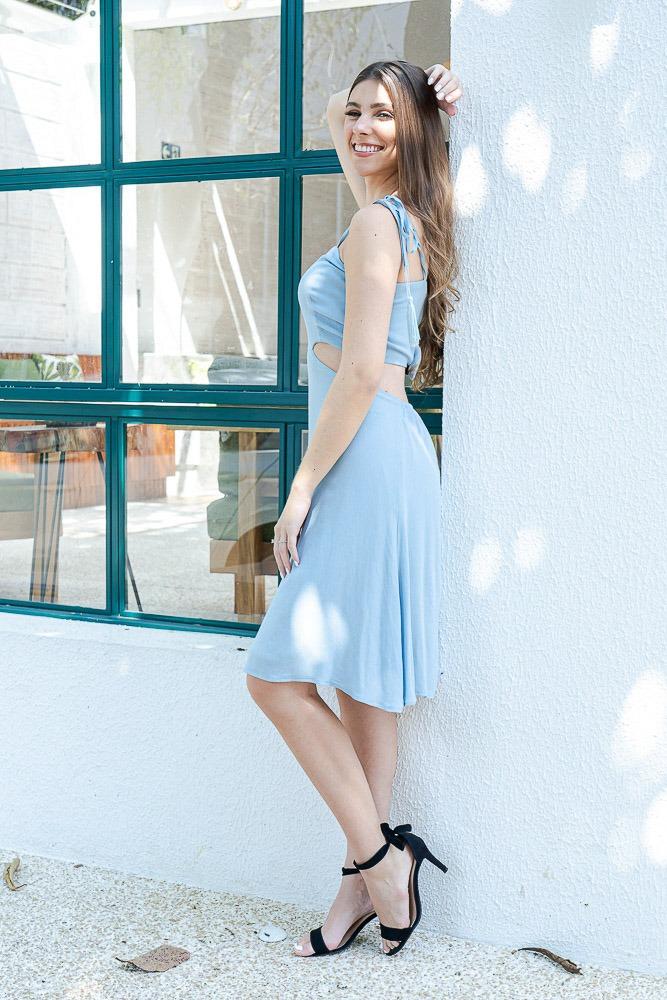 Vestido Midi Abertura Viscose Lari Briller Azul