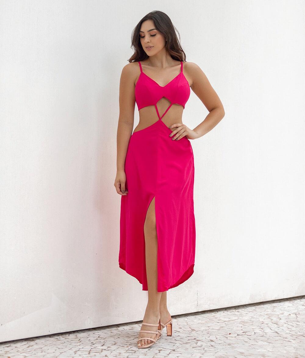 Vestido Abertura Laço Amanda Pink