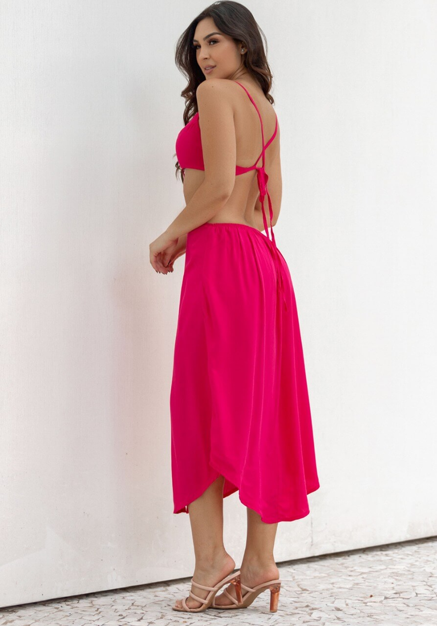 Vestido Abertura Laço Amanda
