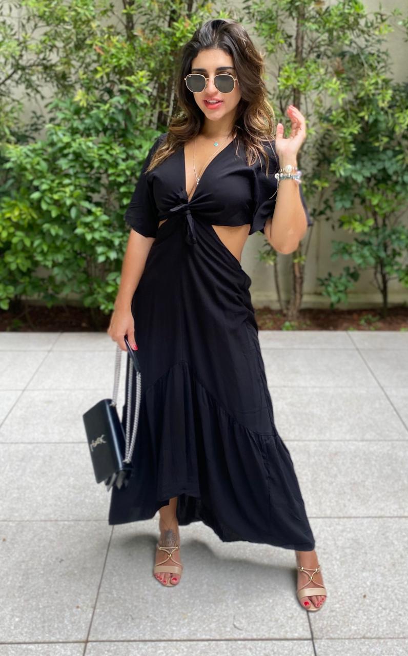 Vestido Abertura Laço Preto