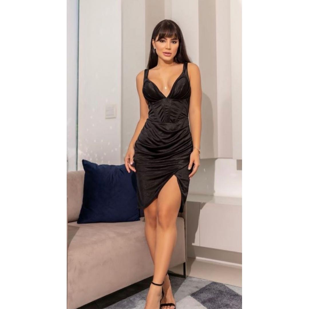 Vestido Acetinado Claudia Curto Decote V