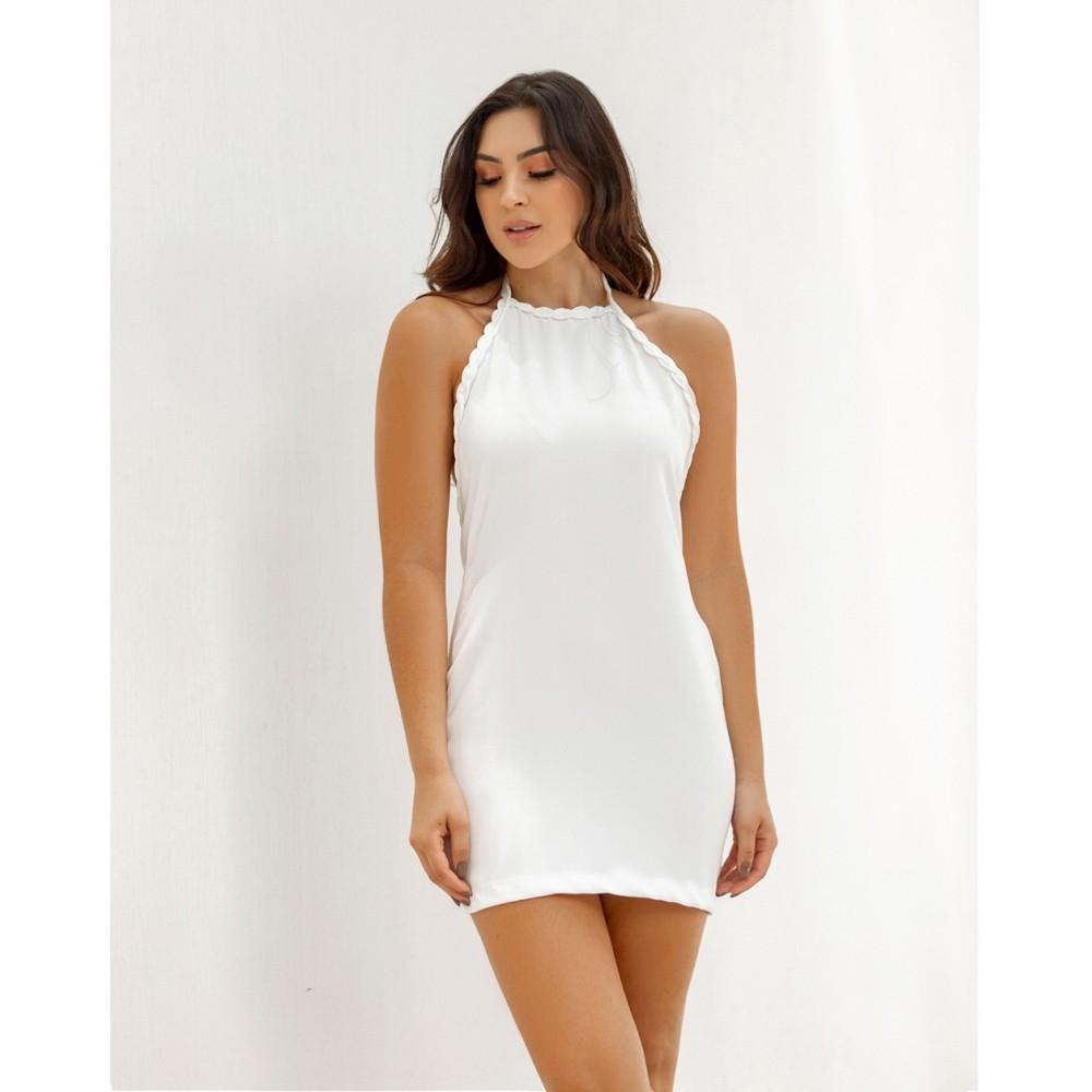 Vestido Alessandra Frente Única Alfaiataria Off White