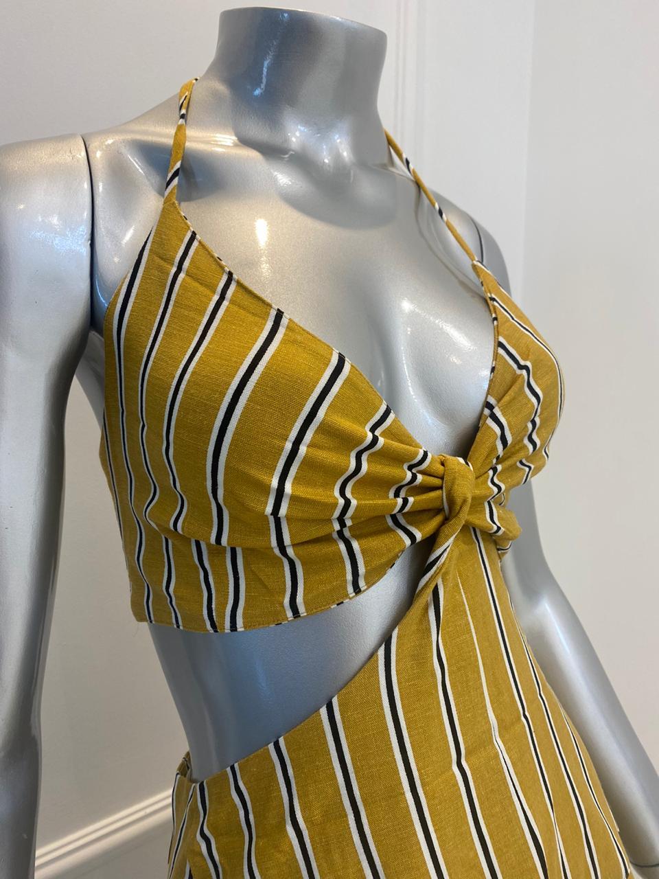 Vestido Amarração Midi Listrado
