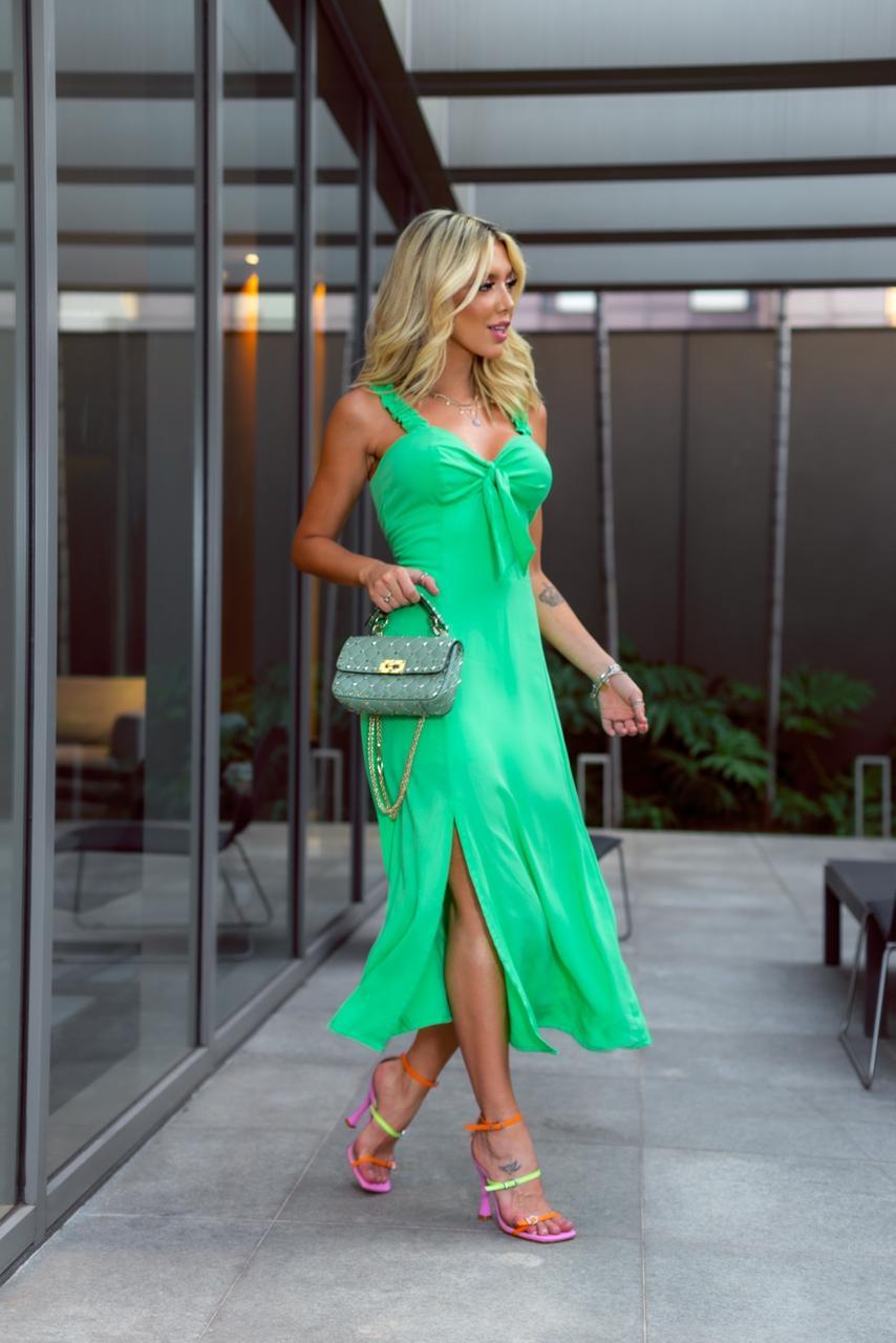 Vestido Aurora Laço Viscose Midi