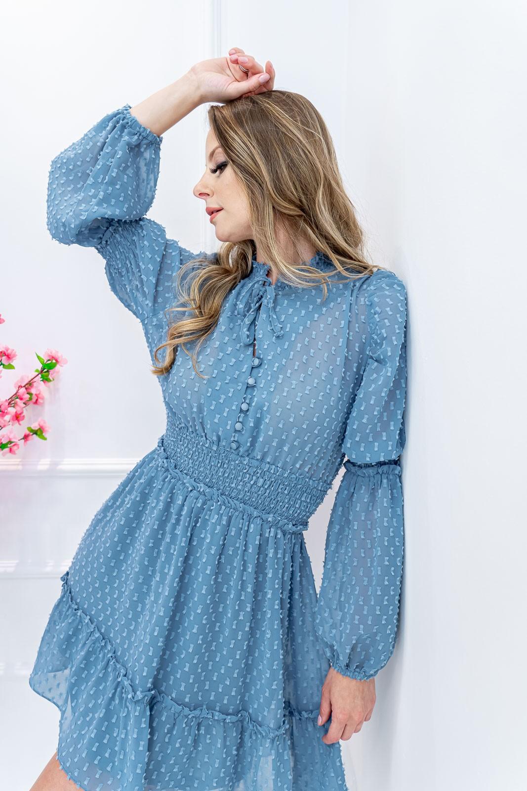 Vestido Azul Turquesa Maga Longa com Lastex