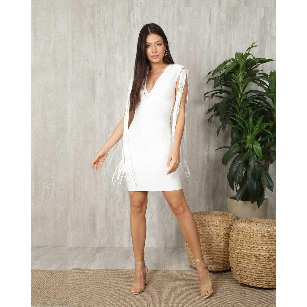 Vestido Bandagem Premium OFF White Franjas