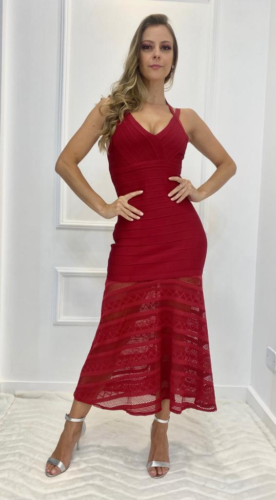 Vestido Bandagem Premium Renda Alcinha Vermelho